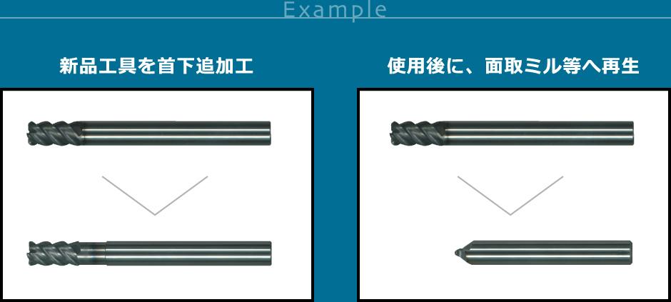 (左)新品工具を首下追加工 (右)使用後に、面取ミル等へ再生